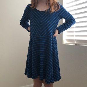 Old Navy Long Sleeve Blue Stripe Swing Dress